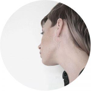 Qtz hexagon oorringen